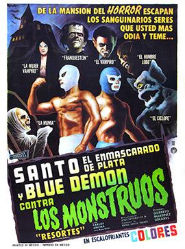 GILBERTO-MARTÍNEZ-SOLARES.-Santo-el-Enmascarado-de-Plata-y-Blue-Demon-contra-los-Monstruos--cartel