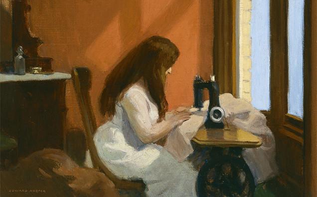 Muchacha-cosiendo-a-máquina-Hopper